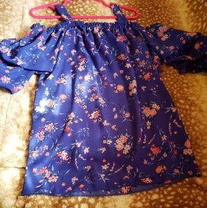 NWOT Blue floral little girl blouse